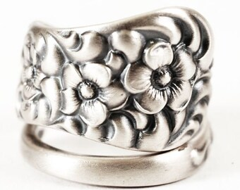 Spoon Ring Rare Antique Forget Me Not Floral Sterling Silver Ring, Dominic and Haff Rococo ca 1888, Handmade, 925 Adjustable Ring Size 6512