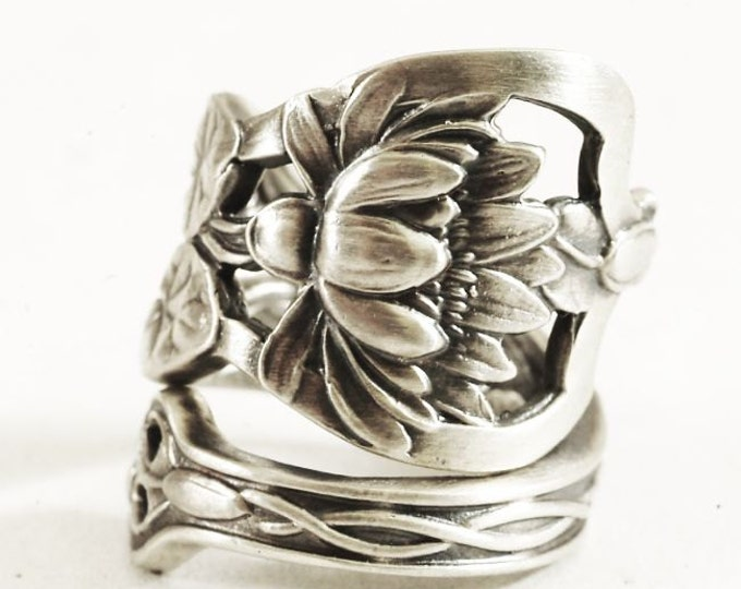 Stunning Pond Lily Ring, Lotus Flower Ring, Sterling Silver Spoon Ring, Pond Lilly, Art Nouveau, Handmade Jewelry, Adjustable Ring Size 2624