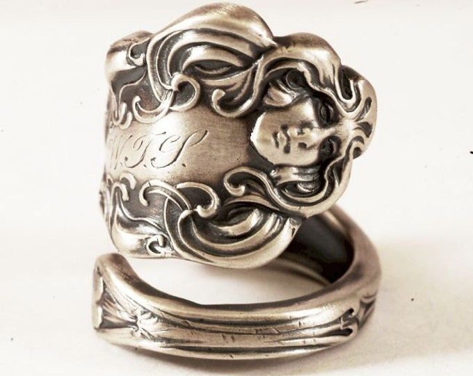 """Goddess Spoon Ring, 925 Rare Unger """"Les Circes"""" of 1904, Art Nouveau Goddess Sterling Silver, Handcrafted Gift, Adjustable Ring Size (7550)"""
