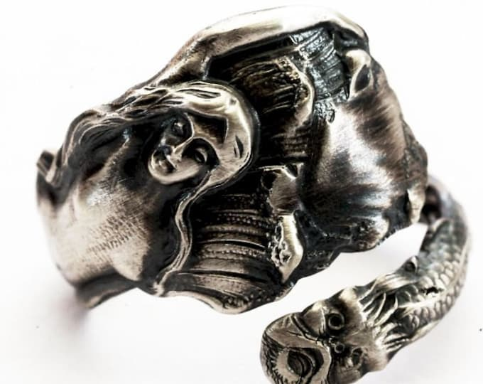 Petite 925 Mermaid Ring, Rare Antique Spoon Ring of Art Nouveau Mermaid in Sterling Silver, Handcrafted Gift for Her, Adjustable Size (7545)