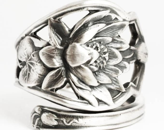 Lotus Flower Ring, Water Lilly Ring, Sterling Silver Spoon Ring, Pond Lillies Angular Ring, Unique Gift for Her, Adjustable Ring Size (6277)