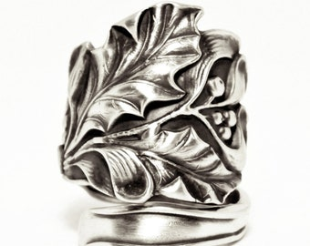 Holly & Mistletoe Ring, December Gift, Sterling Silver Spoon Ring,Botanical Holly Leaves, 925 Handmade Jewelry, Adjustable Ring Size (7148)