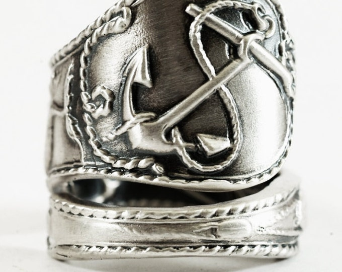 Nautical Ring, Sterling Silver Spoon Ring, Anchor Ring, Palm Beach Ring, Lighthouse Jewelry, Nautical Gifts, Fish Ring, Adjustable Ring 4800