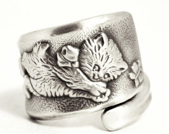Kitty Ring, Cat Ring, Sterling Silver Spoon Ring, Kitten Ring, Butterflies and Yarn, Cat Lover Gift, 925 Ring, Adjustable Ring Size (7533)