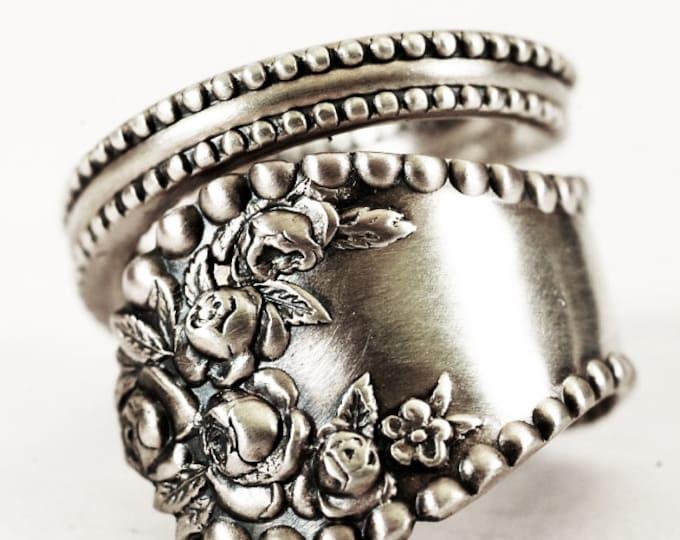 Rose Flower Spoon Ring Sterling Sivler, Vintage Victorian Roses, Gorham Lancaster Rose, 5th Anniversary Gift, Adjustable Ring Size (7050)