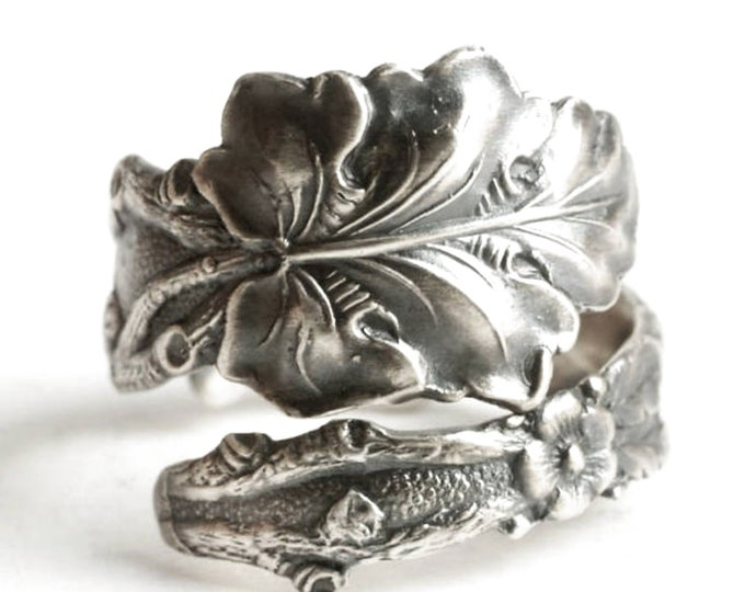 Oak Leaves Ring, Sterling Silver Spoon Ring, Fall Autumn, Botanical Organic Nature Inspired, Leaves and Flowers, Adjustable Ring Size (6492)