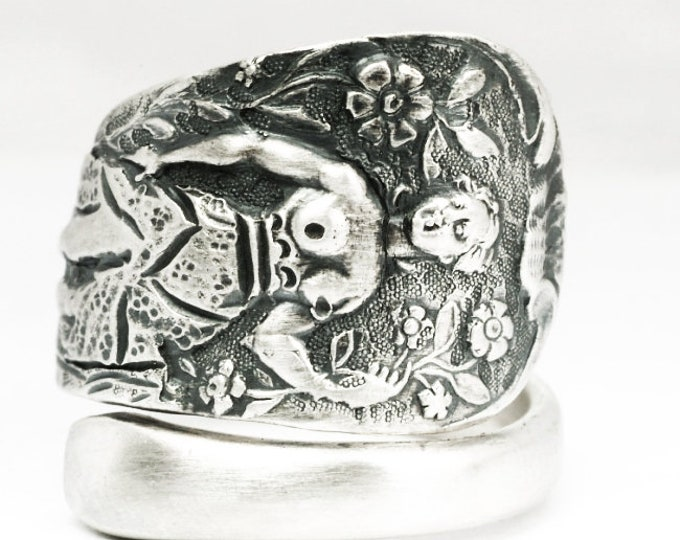 Goddess Diana Ring, Garden Ring, Sterling Silver Spoon Ring, Art Nouveau Antique British Flatware, Nude Woman, Woodland Adjustable Ring 7134