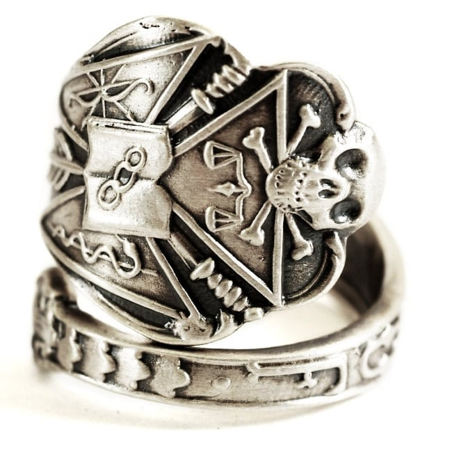 Ioof Ring Odd Fellows Sterling Silver Spoon Ring Skull And