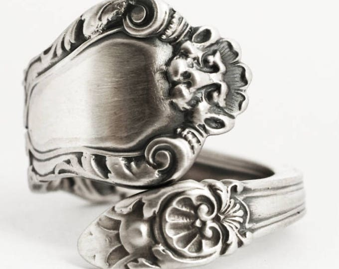 Victorian Lion Ring, Sterling Silver Spoon Ring, Unique Spoon Ring, Silver Victorian Ring, Antique Spoon Ring, Adjustable Ring Size (6894)