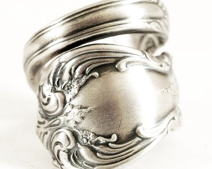 "Victorian Floral ""Old Master"" Pattern Sterling Silver Spoon Ring by Towle, Unisex Ring, Gift for Mom, Handmade Gift, Custom Ring Size (6146)"