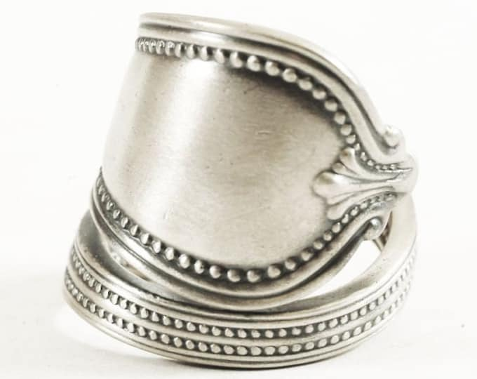 "Milgrain Ring, Sterling Silver Spoon Ring, Minimalist Silver Ring, Vintage Towle ""Old Newbury"" ca 1900, Handmade Adjustable Ring Size (5830)"