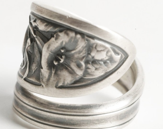 Morning Glory Flower Ring, Sterling Silver Spoon Ring, Morning Glory Ring, Wallace Flower Ring, Engraved Mc , Adjustable Ring Size (6140)