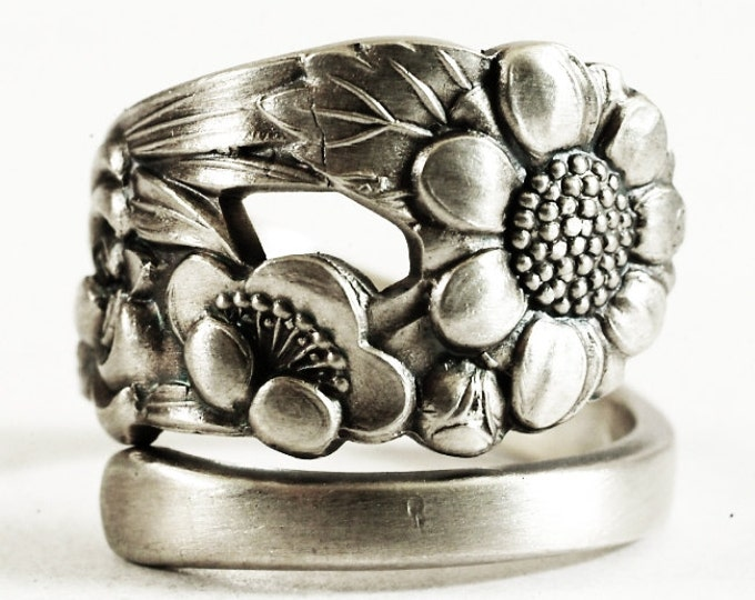 Custom For Lexa Rare Antique Wild Flower Spoon Ring, Japanese 950 Silver, Sterling Silver Spoon Ring, Nature Inspired, Adjustable Ring, 6171