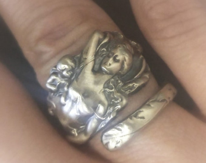 Goddess Ring, Cupid and Psyche, Sterling Silver Spoon Ring, Love Disarmed Style, Fancy Ring, Eco Friendly Jewelry, Adjustable Ring Size 2748