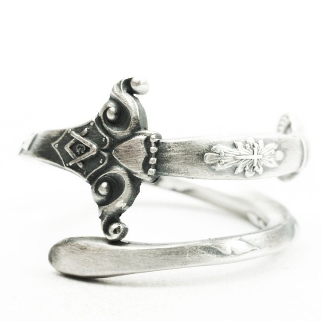 Antique Masonic Ring, Sterling Silver Spoon Ring, Knights