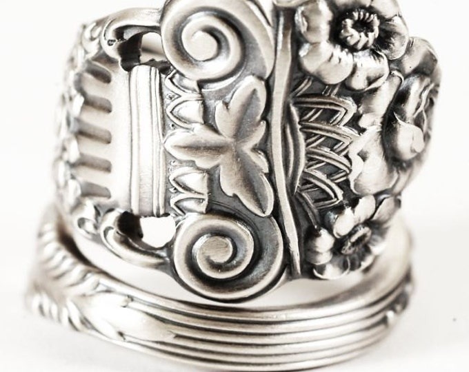 Silver Rose Ring, Flower Spoon Ring Sterling Silver,  Roman Column, Georgian Towle, Hand Forged Ring, Rose Ring, Adjustable Ring Size (6170)