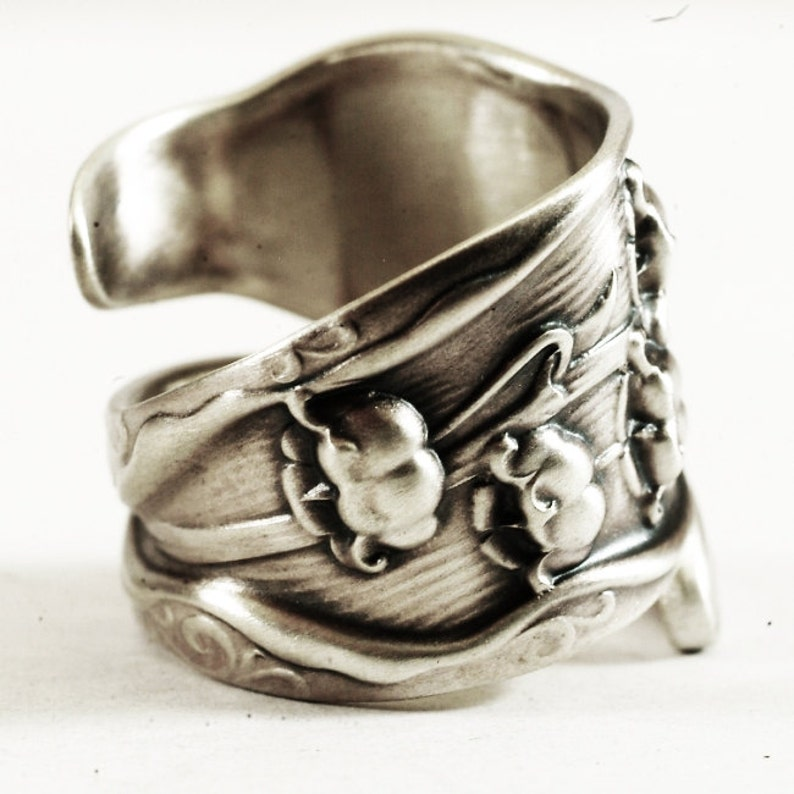 Lily of the Valley Ring 6270 Botanical Jewelry Adjustable Ring Size Flower Ring Silver Large Spoon Ring Floral Ring
