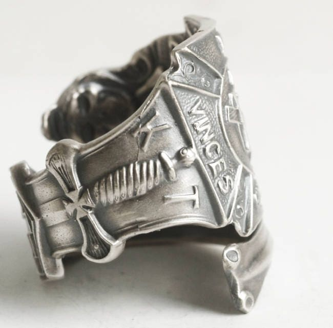 Knights Templar Ring, Masonic Ring, Sterling Silver Spoon