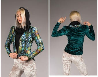 Funky Unique Reversible Psychedelic Print Crushed Dark Emerald Green Crushed Velvet Jacket Groovy Prince Inspired Warrior Within Designs