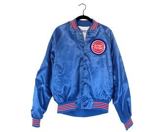 Vintage Detroit Pistons Bright Blue Old School Logo Chalk Line Inc. Nylon  Jacket 079000d12
