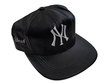 ... ireland vintage new york yankees ny genuine black leather strapback hat  made in usa a9f27 7378e 9160845198d0