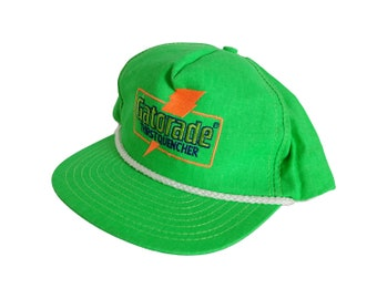 new style fd91a bbfcd Vintage Gatorade Old School Logo Highlighter Green Neon Logo Snapback Hat