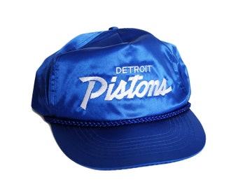 Vintage Detroit Pistons Script Snapback Official NBA Licensed Bright Blue  Sports Specialties Shiny Satin Hat NOS 64d36506e