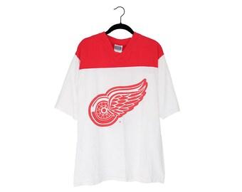 Vintage Detroit Red Wings Niklas Lidstrom  5 Winged Wheel Logo V-Neck  Jersey T-Shirt 2b6992ee1
