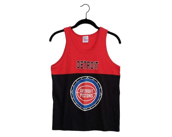 Vintage Detroit Pistons Black   Red Split Tank Top Basketball  bd8ed3b3c
