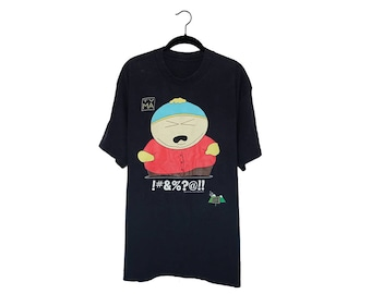 Vintage 1997 South Park Cartman !#&?@!! Official Comedy Central Black T-Shirt, Made in USA  - XL