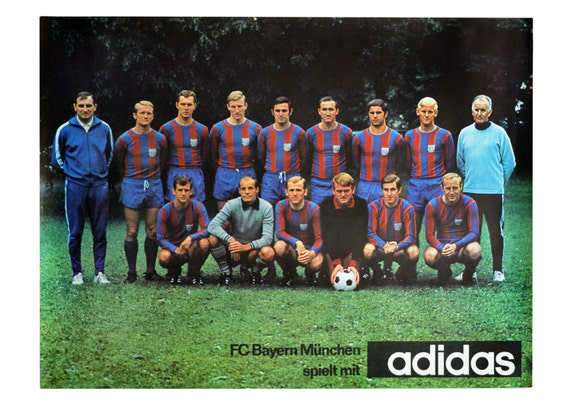 Vintage Adidas Fc Bayern Munchen Fussball Team Poster Printed In West Germany