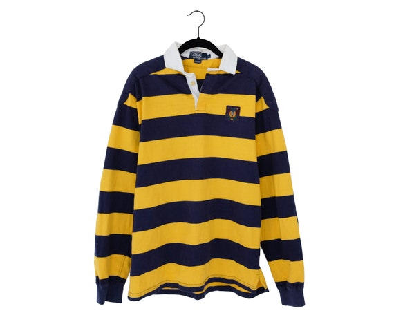 e794f5243 Vintage 90 s POLO by Ralph Lauren Yellow   Blue Thick