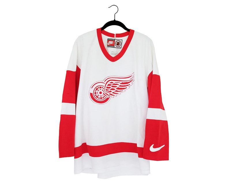 345ceba82c0 Vintage NHL Detroit Red Wings NIKE White Away Blank Hockey | Etsy