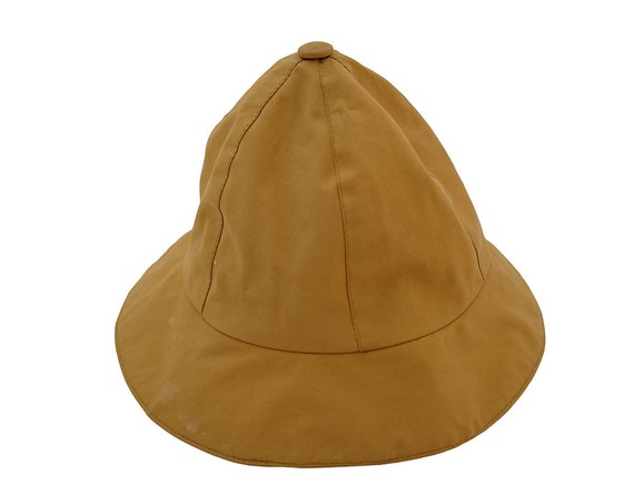 Vintage Eddie Bauer Yellow Ochre Tan Lined Bucket Hat Made in  f30405d4b3a
