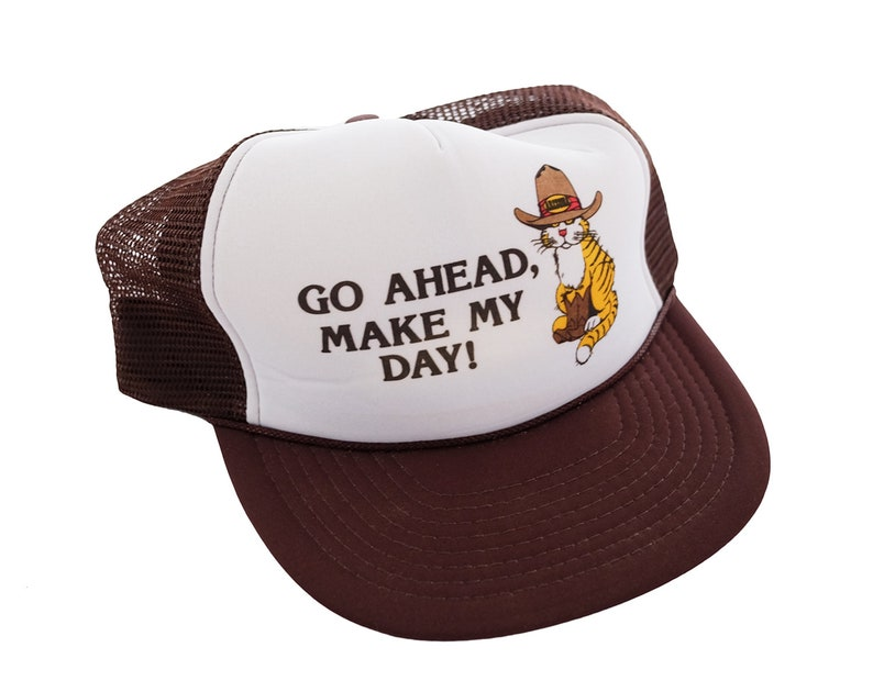 0a261ba6b441a Orange Cat in a Cowboy Hat and Boots Trucker Snap... Vintage Go Ahead