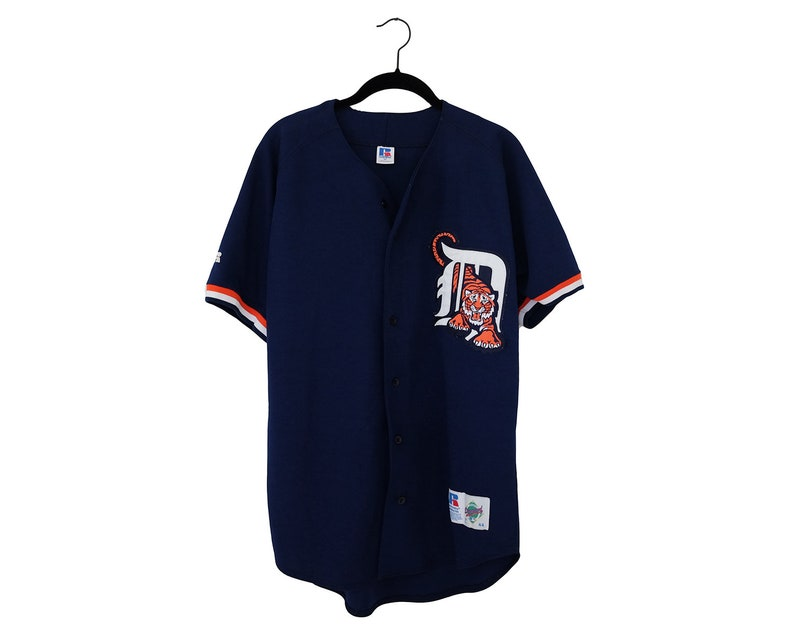 online store 018e5 88446 Vintage Detroit Tigers 90's Russell Athletic Tiger Through D Redesign Navy  Blue Jersey, Made in USA - Size 44