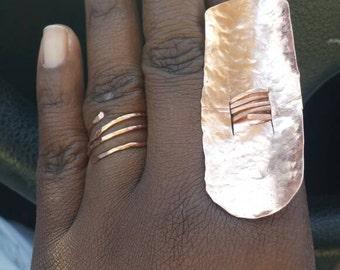 Oblong Hammered Copper Shield