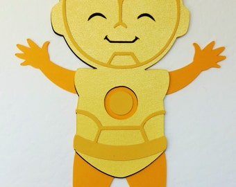 Star Wars Inspired C-3PO Robot Paper Die Cut Paper Doll Scrapbook Embellishment