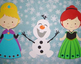 Frozen Anna & Elsa and Olaf Paper Die Cut Paper Doll Scrapbook Embellishment