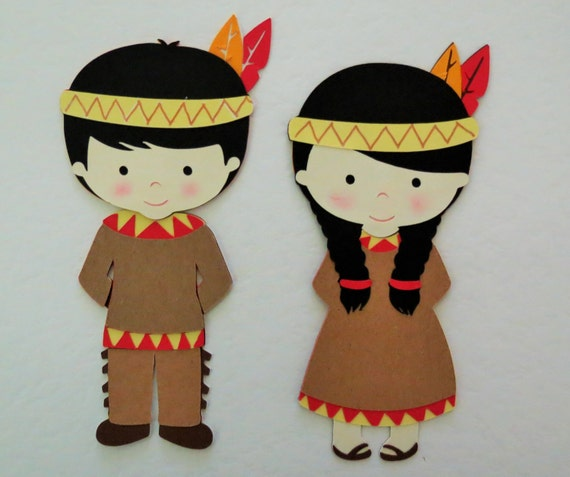Thanksgiving Native American Indian Boy And Girl Paper Die Cut