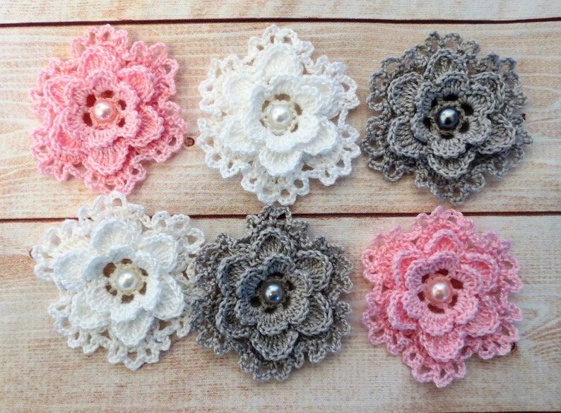 Crochet Flower Layered Lacy Applique Cardmaking Scrapbook 6Pc Pink White Grey
