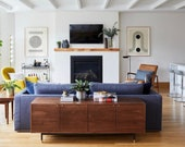 Nelson Credenza - Solid Wood - Black Steel Pulls and Base