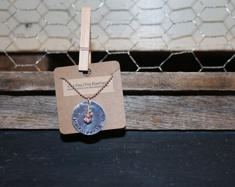 hand stamped personalized necklace with chain and charm