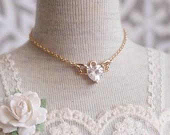 Wings Heart Zircon Necklace for BJD 1/3 SD 1/4 MSD Miniefee and 1/6 YoSD Dolls