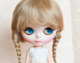 """Light Brown Mohair Blythe Wig with Braids and Fringe 10-11"""" Size Doll Wig"""