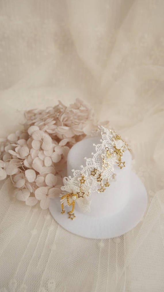 NEW White gold Elf style Wings Headwear 1//3 SD DD BJD Doll Accessories Headband