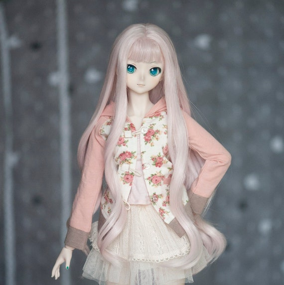 BJD Doll 1//3 9-10 Wig Long Curly Hair Braid Straight Bangs for Girl Pink Green
