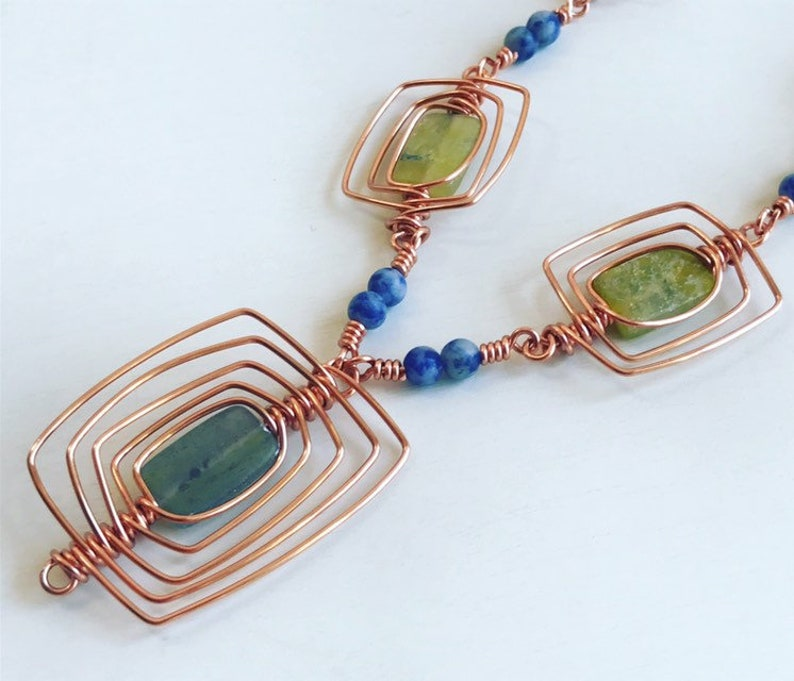 Copper Wire Wrapped Green Aventurine Stone Necklace  Lapis Seed Beads  Statement Piece  Gemstone Jewelry  Copper Jewelry  Gift for Her