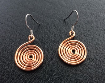 Thick Copper Wire Spiral Earrings on Sterling Silver Earhooks