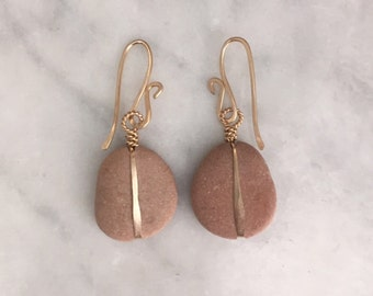 R O S E hued beach stone earrings